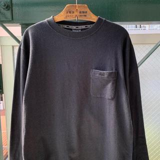 アートヴィンテージ(ART VINTAGE)のFIRSTDOWN 刺繍ロゴ ワンポイント ロンT 長袖カットソー ブラック(Tシャツ/カットソー(七分/長袖))