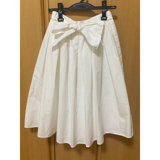 オペークドットクリップ(OPAQUE.CLIP)のオペーク  ホワイト リボン スカート(ひざ丈スカート)