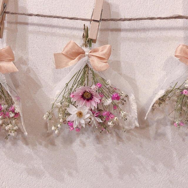 終了しました。春待ちピンク レースリボンガーランド ハンドメイドのフラワー/ガーデン(ドライフラワー)の商品写真