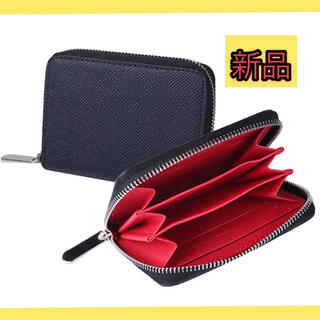 コインケース メンズ 小銭入れ カードケース 多収納 インナーレッド ブラック(コインケース/小銭入れ)