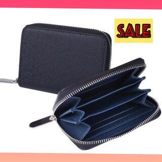 コインケース メンズ 小銭入れ カードケース 多収納 インナーブルー ブラック(コインケース/小銭入れ)