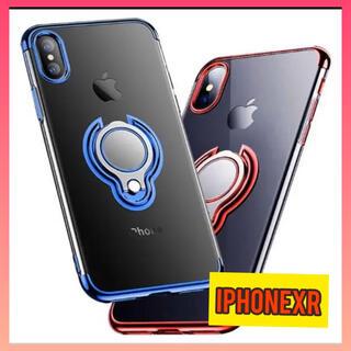 iPhoneXR アイフォンケース クリア バンガ―リング付き ブルー レッド(iPhoneケース)