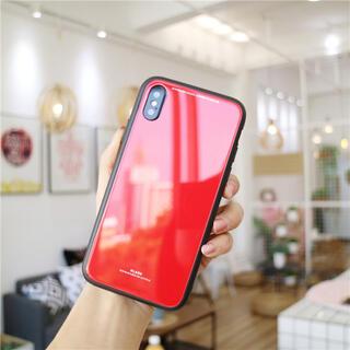 iPhoneXR iPhoneケース カラーケース レッド 韓国ファッション(iPhoneケース)