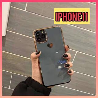 【特価】iPhone11 アイフォンケース ハート柄 シンプルケース グレー (iPhoneケース)