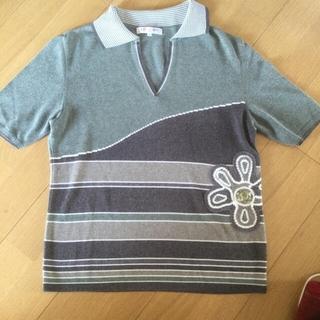 レオナール(LEONARD)のレオナール💙半袖ニットポロ💙L(Tシャツ/カットソー(半袖/袖なし))