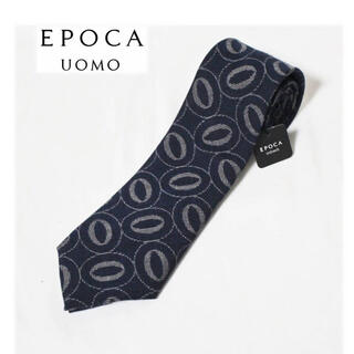エポカ(EPOCA)の 《エポカ》新品 日本製 シルク混 丸柄 ネクタイ 濃紺 ビジネス プレゼント(ネクタイ)