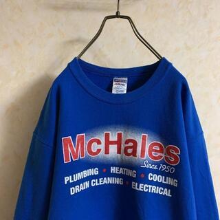 Hanes - ヘインズ 企業ロゴ スウェットトレーナー 90s古着 ブルー 日本Lサイズ