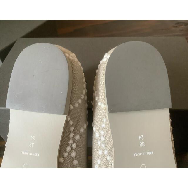 mina perhonen(ミナペルホネン)のミナペルホネン  tambourine スリッポン 38 ベージュ レディースの靴/シューズ(スリッポン/モカシン)の商品写真