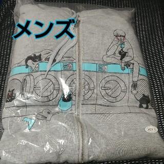 【LEVEL4】キヨ猫パーカー ジップアップ グレー メンズ【レベル4】(パーカー)
