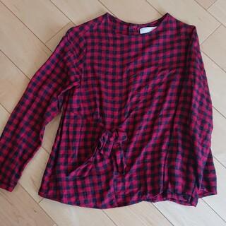 ザラキッズ(ZARA KIDS)のZARA 140 赤黒チェックのチュニック(Tシャツ/カットソー)