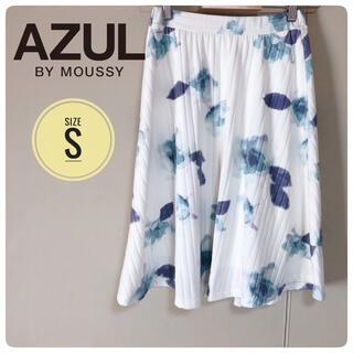 アズールバイマウジー(AZUL by moussy)のAZULBYMOUSSY  花柄ホワイトフレアスカート(ミニスカート)