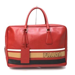プラダ(PRADA)のプラダ ブリーフケース ハンドバッグ サフィアーノ ロゴ ライン レッド(ボストンバッグ)