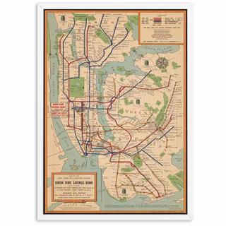 ポスター 059 フレーム付 地図 NY地下鉄 路線図 レア(地図/旅行ガイド)