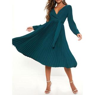 リプシー(Lipsy)の新品タグ付き🇬🇧エメラルドグリーン ドレス ワンピース 長袖 (ひざ丈ワンピース)