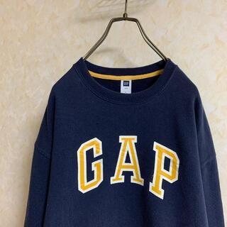 GAP - ギャップ ビッグロゴ スウェットトレーナー ネイビー イエロー Lサイズ