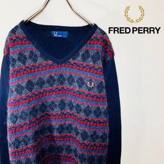 フレッドペリー(FRED PERRY)の激レア フレッドペリー モヘア ニット セーター ノルディック柄 刺繍 ロゴ M(ニット/セーター)