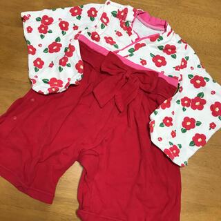 美品 袴ロンパース 女の子 80(和服/着物)
