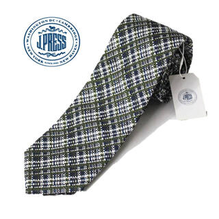 ジェイプレス(J.PRESS)の 《ジェイプレス》新品  シルク100% チェック柄ネクタイ 緑 紺 プレゼント(ネクタイ)