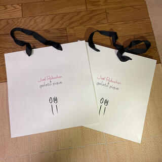 ジェラートピケ(gelato pique)の紙袋 2枚 ジョエル・ロブション&ジェラートピケ(ショップ袋)