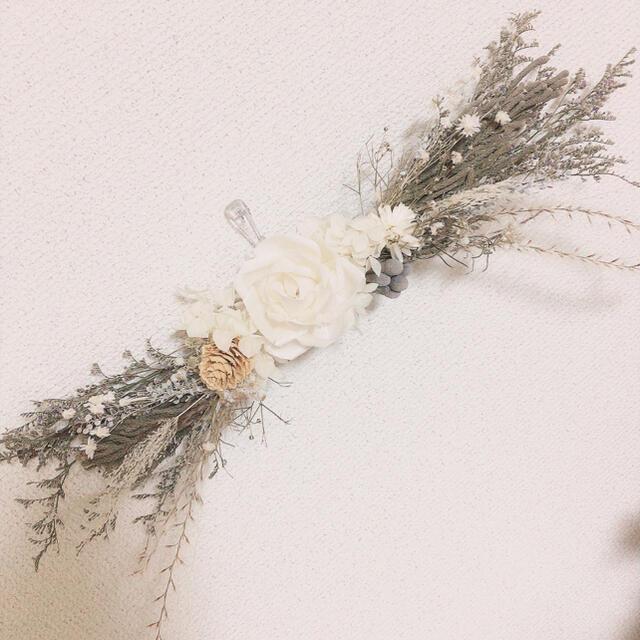【るなこ様専用】ROSE×ブルニア WHITE Natural 横長 スワッグ ハンドメイドのフラワー/ガーデン(ドライフラワー)の商品写真