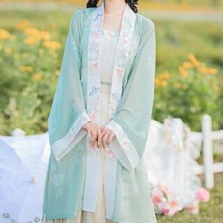 花見 中国刺繍漢服3点セット スカート トップス キャミソール 中国風コスプレ(衣装一式)