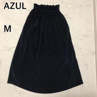 アズールバイマウジー(AZUL by moussy)のAZUL by MOUSSY コーデュロイ ロングスカート ネイビー M(ロングスカート)