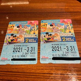 ディズニー(Disney)のリゾートライン フリー切符2枚(遊園地/テーマパーク)
