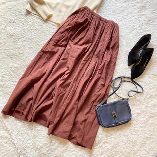 トゥデイフル(TODAYFUL)のトゥデイフル コットンギャザーロングスカート 38 ブラウン  (ロングスカート)