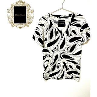 ドレスキャンプ(DRESSCAMP)の配色スペシャル!DRESS CAMP アートデザイン 総柄シャツ コットン 白黒(Tシャツ/カットソー(半袖/袖なし))