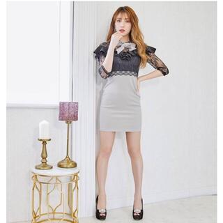 dazzy store - リボン×フリル7分袖タイトミニドレス