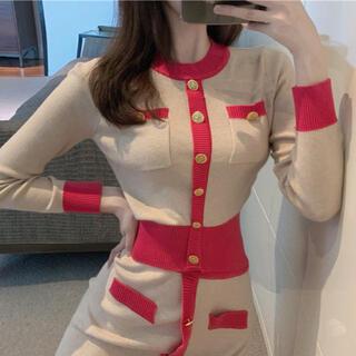 Lily Brown - レトロカラーデザインセーター ニット トップス