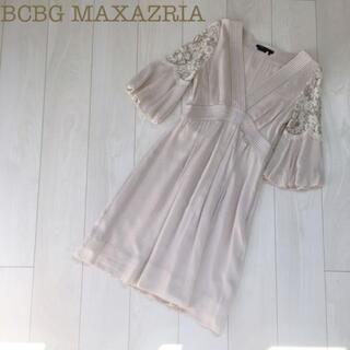 ビーシービージーマックスアズリア(BCBGMAXAZRIA)のBCBG MAXAZRIAシルク刺繍フリルフレアワンピース ベージュ4ドレス春夏(ひざ丈ワンピース)