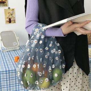 ザラ(ZARA)の刺繍フラワーコンビニバッグ(エコバッグ)