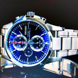 セイコー(SEIKO)のSEIKO ソーラー100m防水 クロノグラフ ブルー&ブラック 新品未使用(腕時計(アナログ))