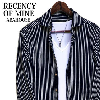 ABAHOUSE - RECENCY OF MINE ストライプシャツ 総柄シャツ アバハウス 紺色