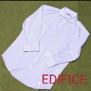 エディフィス(EDIFICE)のエディフィス 7分袖シャツ ブルーストライプ(シャツ)