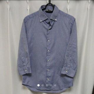 エディフィス(EDIFICE)のEDIFICE エディフィス 7分袖ボタンダウンシャツ ブルー(シャツ)