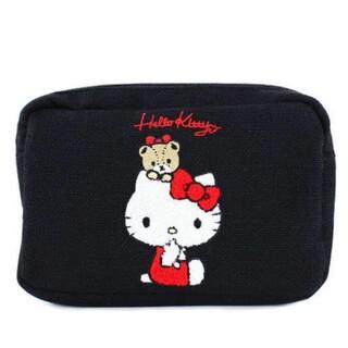 ハローキティ - キティ サガラ刺繍 スクエアポーチ ブラック 新品
