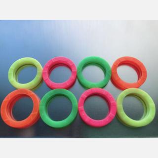 キーカバー キーキャップ ラバーリング カギの色分け識別 4色×2個 8個セット(キーホルダー)