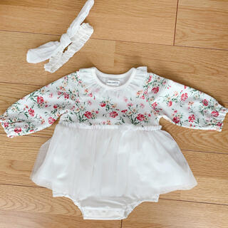 キムラタン - キムラタン ドレス 80 チュール ワンピース 花柄 ベビードレス ロンパース