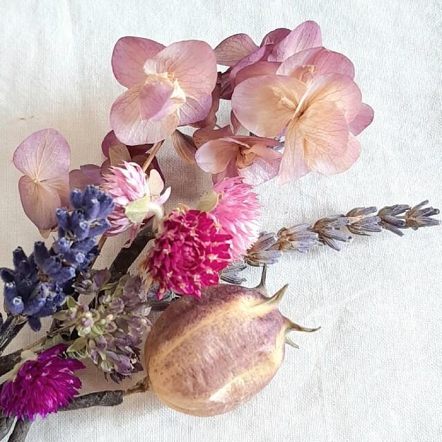 ナチュラル ドライフラワー 春色 くすみカラー ヘッドパーツ 髪飾り ハンドメイドのウェディング(ヘッドドレス/ドレス)の商品写真
