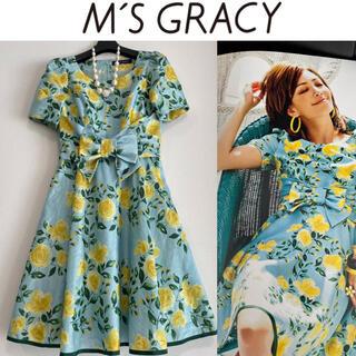 M'S GRACY - エムズグレイシー◆カタログ掲載 薔薇 バラ 花柄 リボン フレアワンピース 36