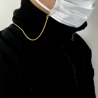 ゴールド マスク ストラップ ロープチェーン ステンレス(ネックレス)