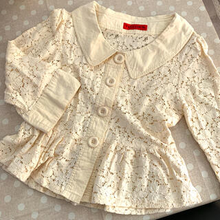 イエロー(yellaw)のペプラム レース ジャケット (Tシャツ(長袖/七分))