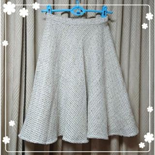 アズノゥアズピンキー(AS KNOW AS PINKY)のホワイトツイード♪フレアスカート(ひざ丈スカート)