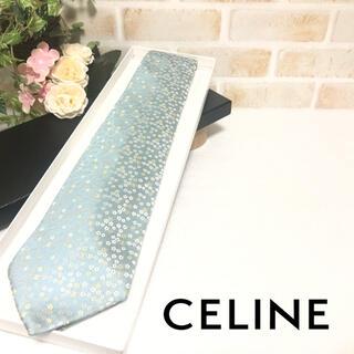 celine - CELINE セリーヌ 小花柄 マカダム柄 総柄 ミントブルー ネクタイ