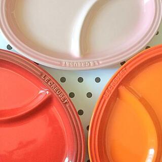 ルクルーゼ(LE CREUSET)の♡ルクルーゼ  マルチ オーバル プレート レッド ピンク オレンジ (食器)