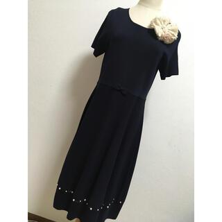 ギャラリービスコンティ(GALLERY VISCONTI)の裾パールオーガンジーがエレガントなワンピース(ひざ丈ワンピース)
