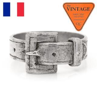 稀少!フランスアンティーク シルバー色 ベルト バックル ミリタリーヴィンテージ(リング(指輪))