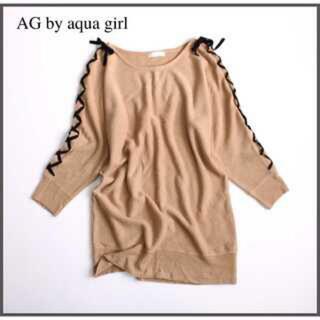 エージーバイアクアガール(AG by aquagirl)の新品!アクアガール!レースアップリボンドルマンニット!AG(ニット/セーター)